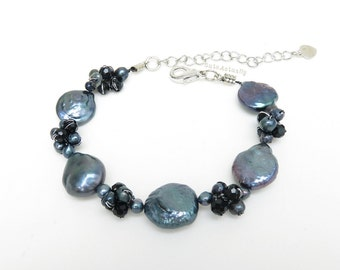 Black freshwater pearl bracelet with crystal on silk thread, coin pearl, round flat