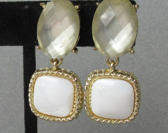 Vintage 1980's Signed MONET White Iridescent Glass Dangle Clip Earrings