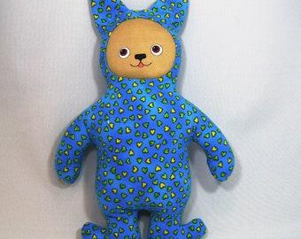 Yellow Heart Blue Dog Stuffed Toy Stuffie