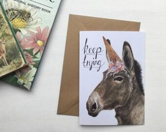 Unicorn Card // 'Keep Trying' Birthday Card - Funny Illustrated Blank Card
