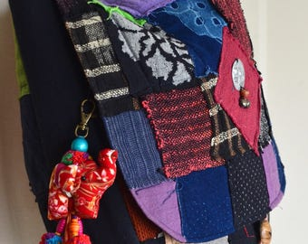 Beaded Hmong Hill Tribe Bags Keychain Long Charm Dangle with Batik Elephant Decoration Cotton Pom Poms Hang BHK56