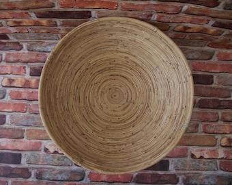 Vintage Large Coiled Bamboo Basket, Rattan Bowl, Handmade Basket, Boho Basket,Natural Color