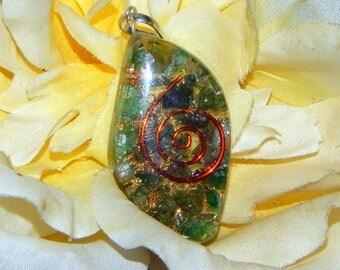 HEART CHAKRA Orgone pendant - Handcrafted gemstone Reiki Crystal Necklace - Aventurine Fluorite copper