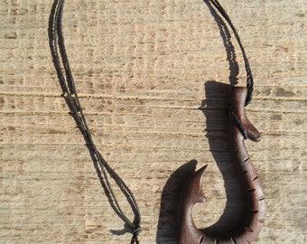Hawaiian Fish Hook necklace - Fish Hook necklace - Wood Fish hook - Car Mirror Decor, Hand carved fish hook, Polynesian fish hook, Fish hook