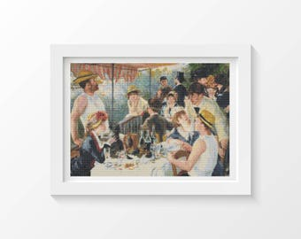 The Luncheon of the Boating Party by Pierre-Auguste Renoir Cross Stitch Chart, DIY Crafts, Instant Download (RENOI03)