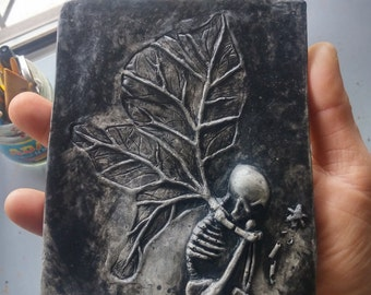 "Fairy Fossil! It's a ..""Fairy Tale Ending!"" Wall hanging, tile, indoor outdoor, art sculpture, wall decor."