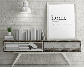 HOME dictionary DEFINITION wall art, digital download, typographic print