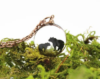 Mama Bear 1, real moss copper necklace