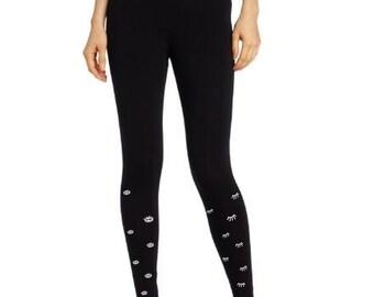 Black ladies leggings, eye print leggings,  present for her, open closed eyes, birthday gift