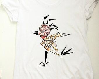 Women bird t-shirt, geometric watercolour t shirt, v neck tee shirt, hipster ladies shirt, size M