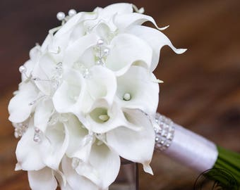 White Calla Lily Wedding Bouquet Real Touch Bridal With Crystals