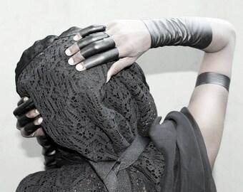 Unisex ring xx long vegan leather ring stretch extra long plain black ring for men and women - Rannka
