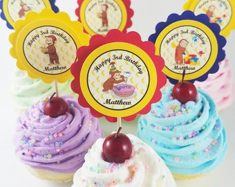 "Personalized Curious George 2"" Scallop Mix n Match Birthday Cupcake Toppers"
