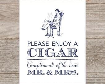 Navy Cigar Bar Sign // Printable Cigar Wedding Sign // Wedding Cigar Sign Printable, Cigar Favors