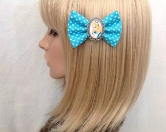 Alice in Wonderland hair bow clip accessories rockabilly pin up kawaii psychobilly Disney mad hatter lolita polka dot blue women girls cute