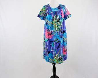 1970s Sears Muu Muu Tropical Floral Print