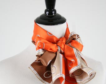 1970s Orange and Brown Oblong Acetate Scarf