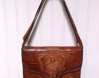 brown leather purse, vintage, 1940s alligator bag, shoulder bag, alligator purse, taxidermy bag, brown purse, leather bag, genuine alligator