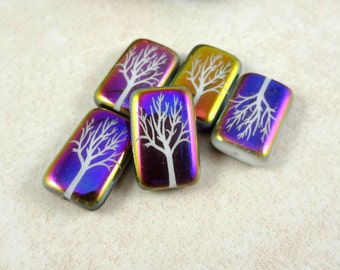 Laser Etched Czech Beads, Tree of Life, Metallic Finish Czech Glass Beads (LAS/RJ-T3027) - 18x12mm - Qty. 4