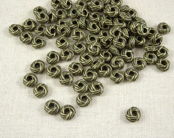 Spacer Bead - Basket Weave, Rondelle Knotted Look (A24611-AB) - Antiqued Bronze - 6x3mm - Qty. 50