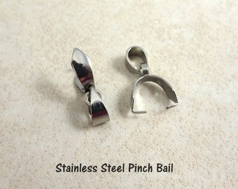 Stainless Steel Ice Pick Pinch Bail - Ice Pick Bail for Pendants - 304 Stainless Steel (R182) - Qty. 6
