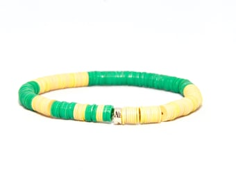 Beaded Bracelet in 14K Solid Yellow Gold - Beach Boho Stretch Cord - African Vinyl Beads Yellow & Green - Men Women Unisex Gift Him Her