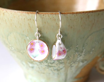 Pink Tea For One Earrings - Pink White Flower Tea Cup and Plate Dangle Earrings, Handmade Sterling Silver Jewellery by Ikuri, FREE SHIPPING