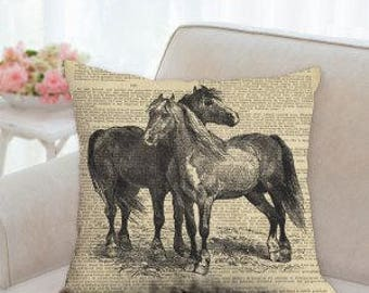 Two Horses Designer  Pillow  (Two styles to choose from)