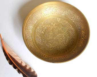 Vintage Etched Brass Bowl  / Boho Brass Dish / Etched Dish from India / Vintage Brass Bowl from India / made in India