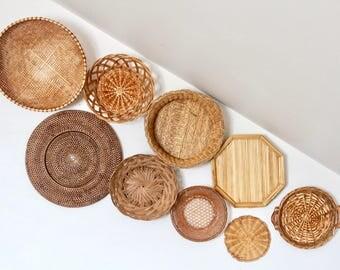 Wicker Wall Decor wicker wall basket | etsy