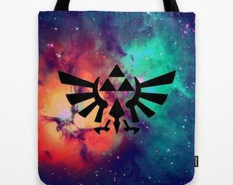 Zelda Tote Bag, The Legend of Zelda Tote Bag, Hylian Royal Crest on Stars Tote Bag, Nintendo Tote Bag, Zelda Bag, Triforce Tote Bag