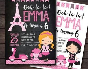 Paris Invitation, Paris birthday party, Paris themed invitations, Paris theme Birthday Party, Digital, 2 Options