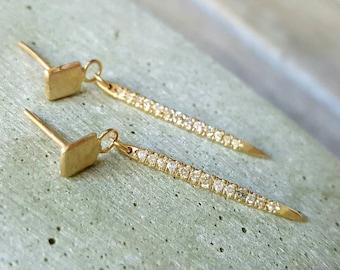 Spike earrings-14k gold spike earrings- diamond spike earrings- long earrings- diamond earrings