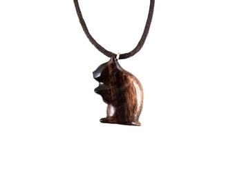 Hamster Necklace, Hamster Pendant, Hamster Jewelry, Wood Hamster Pendant, Hamster Totem Necklace, Hand Carved Animal Pendant, Wood Jewelry