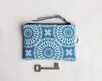 Boho Minimalist Wallet, Blue Coin Purse, Vegan Accessory Pouch, Small Gift for Her