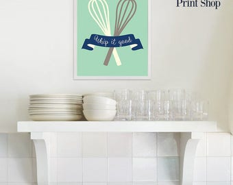 Navy and Mint Whip it Good Kitchenware Wall Decor - Kitchen Whisk Utensil Printable Wall Art - Kitchen Wall Decor DIY Gift Idea - Chef Gift