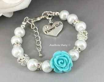 Blue Flower Bracelet, Flower Girl Jewelry, Flower Girl Bracelet, Gift for Flower Girl, Blue, Turquoise, Aqua, Gift under 15, Pearl Bracelet