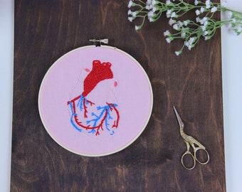 Anatomical Heart Embroidery Hoop