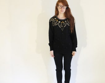 Vintage Pullover Sweater Black and Gold Beaded Sweater Prep School Sweater Posh Dainty Petite 90s