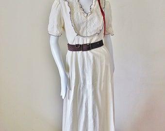 Vintage dress, wedding gown, Ivory, Festival, lace, ruffle, maxi, rare, Boho, Hippie, renaissance, crochet trim. 1960s-1970s era
