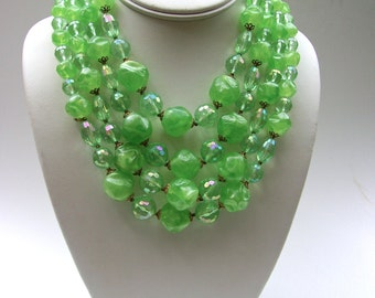 West Germany Green Necklace, Multi 4 Strand, Molded Plastic, Clear ABs, Vintage