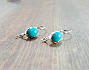 Oval Turquoise Earrings, Blue Earrings, Sterling Kidney Wire Earrings, Locking Earrings, December Birthstone Jewelry, Gemstone Drop Earrings