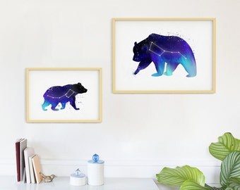 Big and Little Dipper. Large and Small Mother Bear and Baby Bear Galaxy Watercolor Themed Prints. Northern Lights. Bear Constellations.
