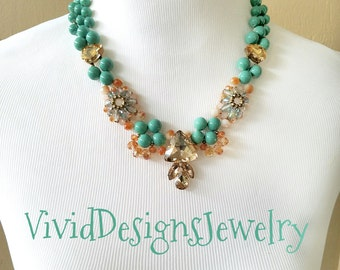 Turquoise Statement Necklace - Crystal Turquoise Statement Necklace