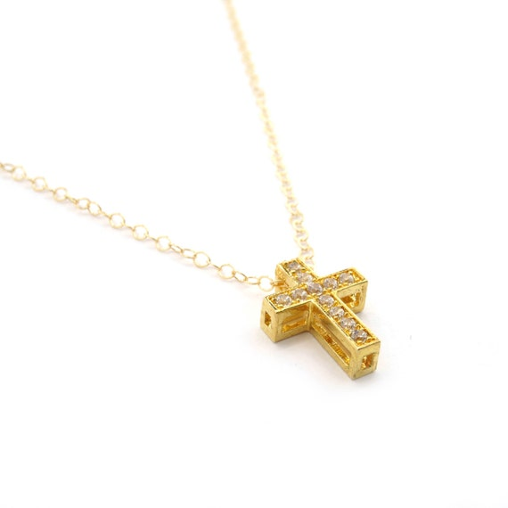 Gold Pave Cross Necklace