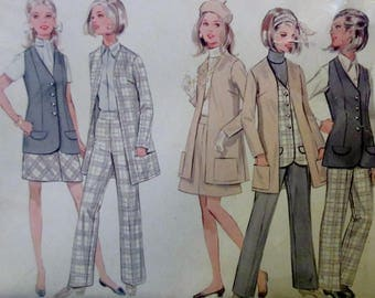 Vintage  1960s Butterick Woman's Sportswear Coordinates Suit Wardrobe  Cardigan Jacket, Vest, Skirt, Pants. Pattern #5354  Size 16 UNCUT