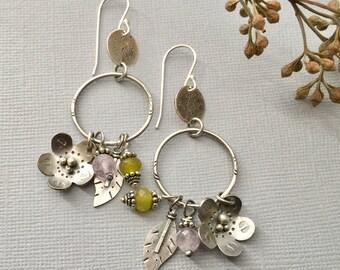 Sterling Silver Flower Earrings, Hand Cut Leaves, Dangles, Artisan Earrings, Hoop Earrings, Jewelry, Lavender Amethyst,