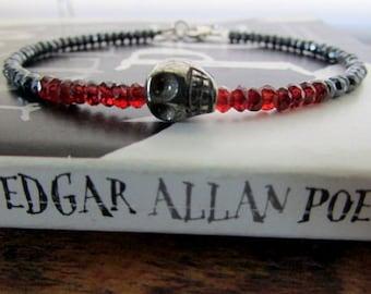 Women's Skull Bracelet, Red Garnet Bracelet, January Birthstone Bracelet, Hematite Bracelet, Pyrite Bracelet, Skull Jewelry, Garnet Jewelry