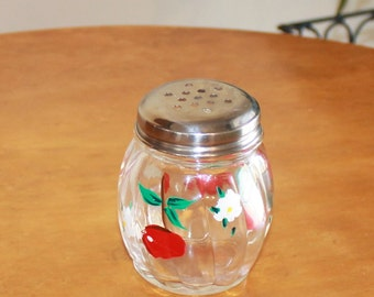 Vintage Clear Ribbed Glass Cheese Shaker with Metal Top and Painted Cherries