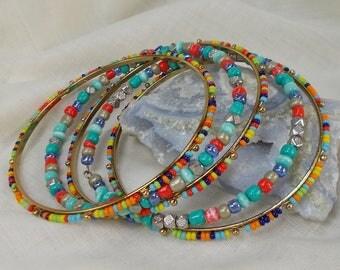 Set of 5 Multi Color Beaded Slim Bangle Bracelets  3472